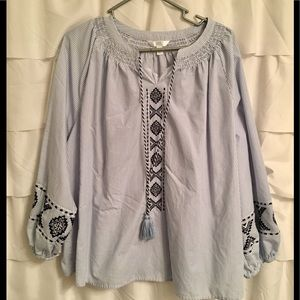 Pinstripe tunic top with tribal embroidery.